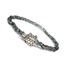 Silver Turtle Zinc Black Diamond Glass B/L
