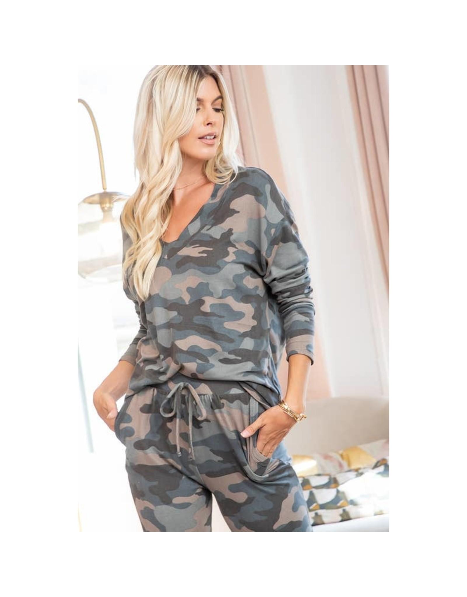 Sweet Lovely by Jen Camouflage V-Neck Top