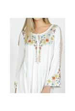 Vibrato Clothing Embroidered Floral Long Sleeve