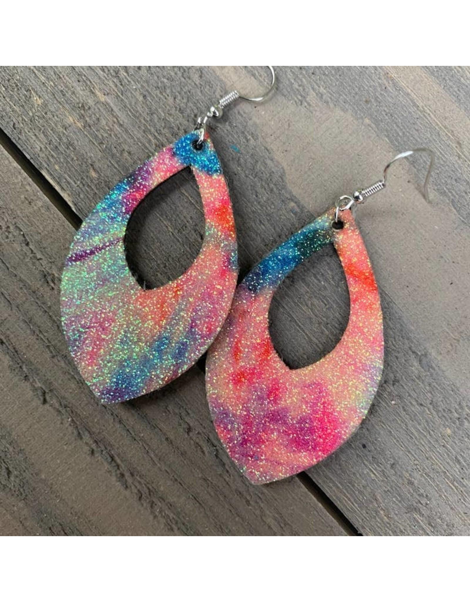 Jill's Jewels E/R- Glitter Rainbow Teardrop
