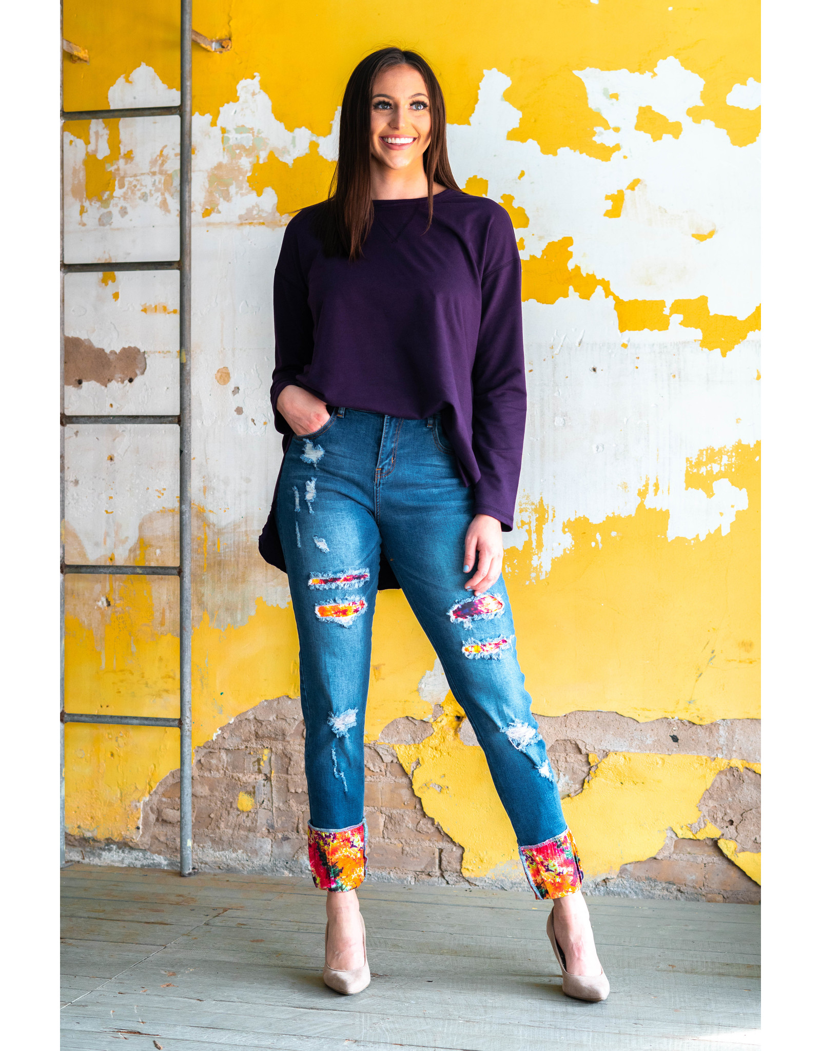 Lucky & Blessed Mid Rise Tie Dye Skinny Jeans