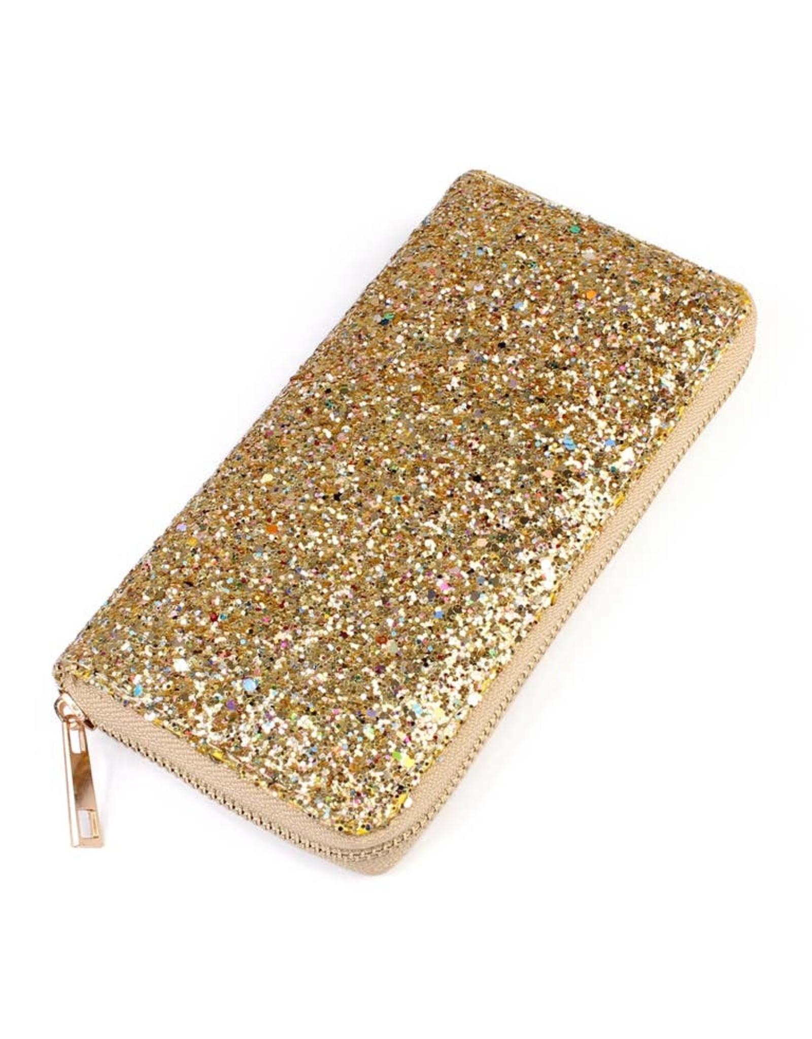 MYS Wholesale Wallet- Zipper Gold Glitter