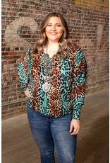 Lucky & Blessed Brown & Teal Boat Neck Top
