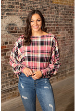 Lucky & Blessed Mauve Plaid Boat Neck Top