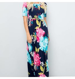 Celeste Clothing Navy Floral Long Dress