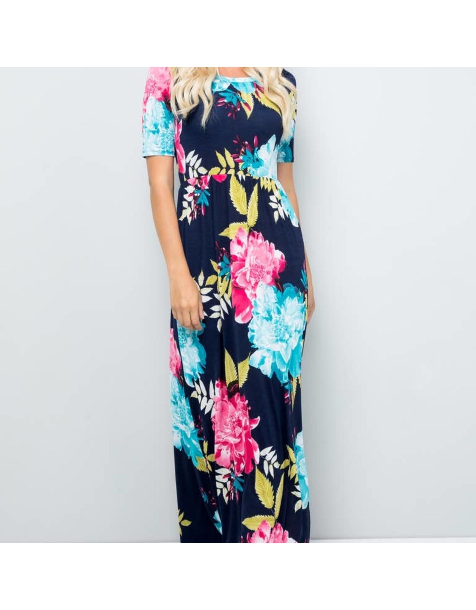 Celeste Clothing Navy Floral Long Dress