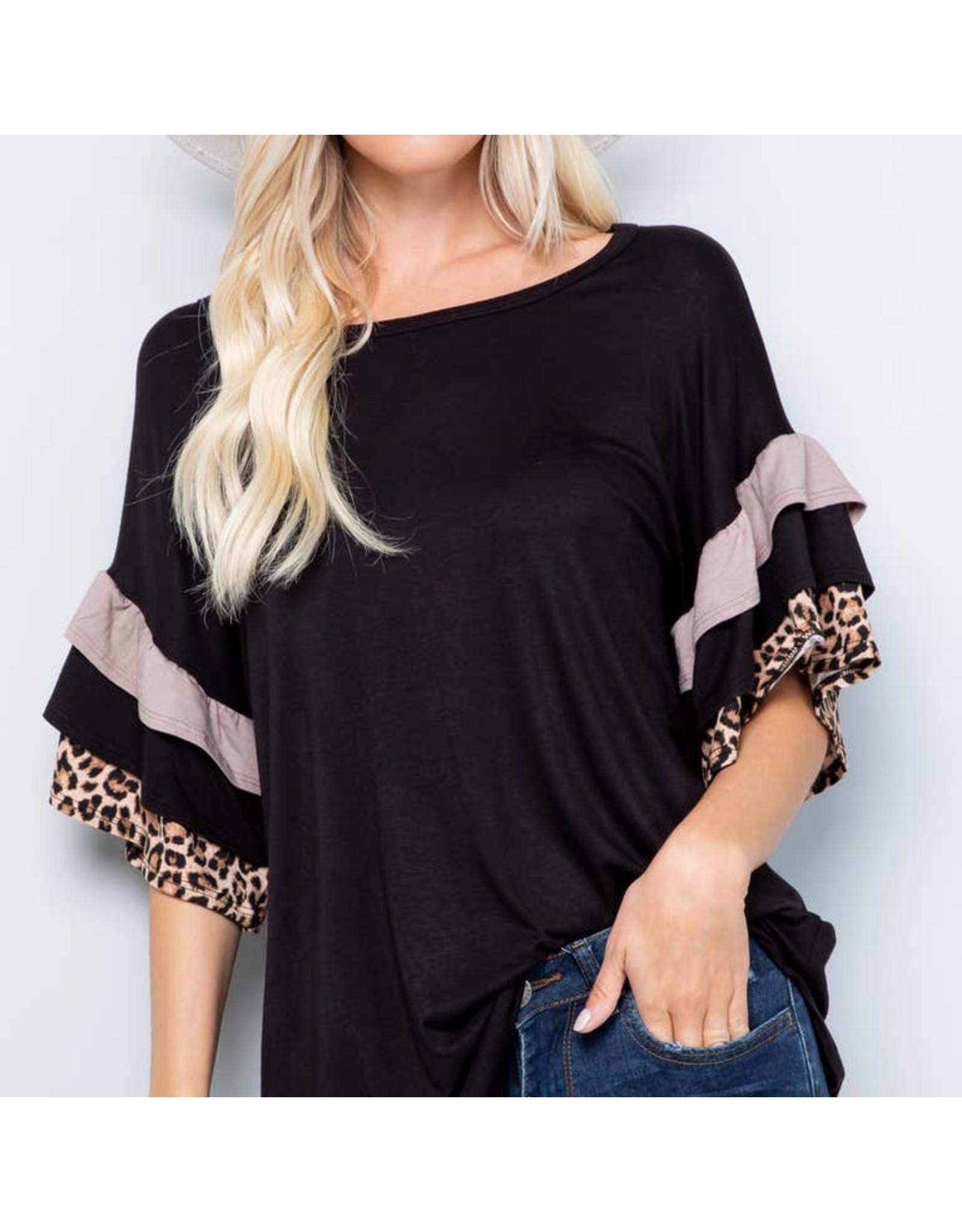 Celeste Clothing Black & Leopard Ruffle Top