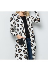 Celeste Clothing Ivory Leopard Cardigan w/Pockets