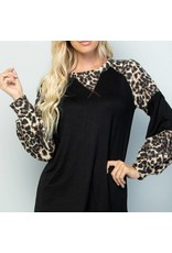 Celeste Clothing Black & Leopard Long Sleeve Top