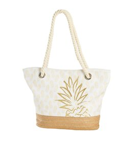 Beachcombers Tote- Gold Pineapple