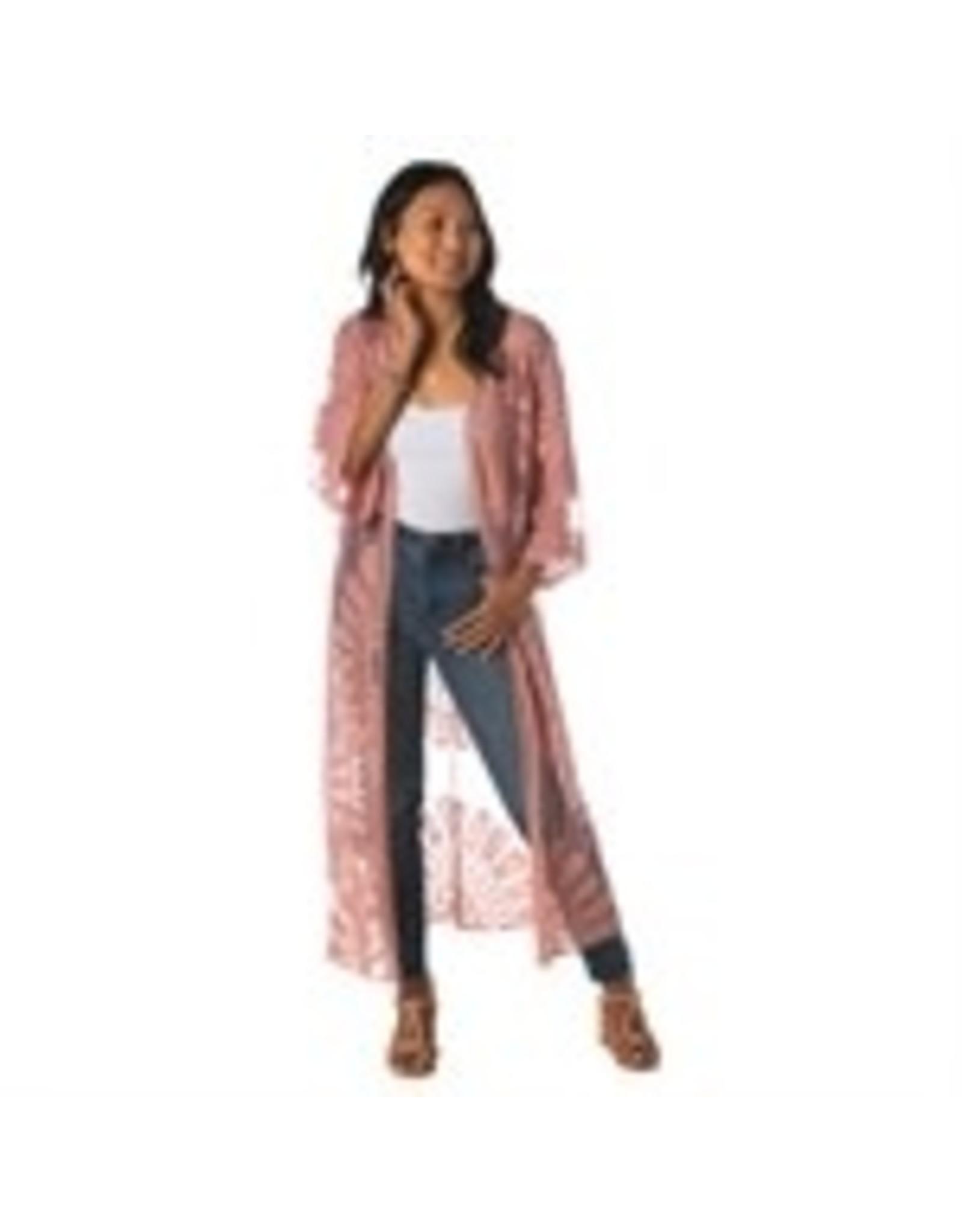 b. Boutique Kimono Floral Lace Pink