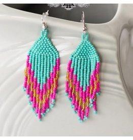 Fancy Flare Pink/Turq. Earrings