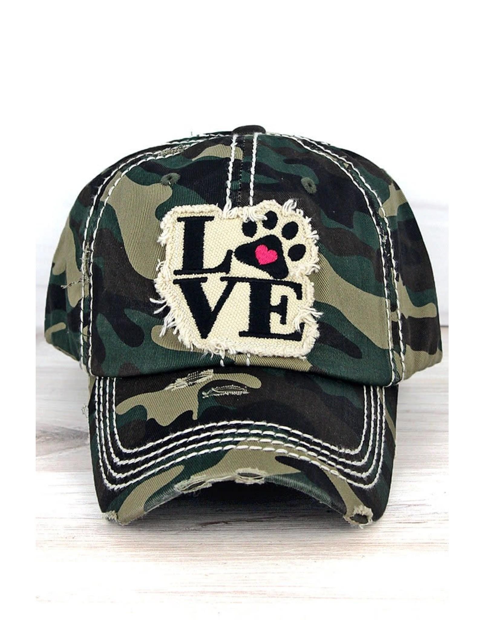 Wholesale Accessory Market Hat- Paw Love Camo