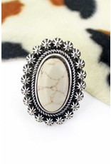 Ring- Bellflower Oval Natural Ivory