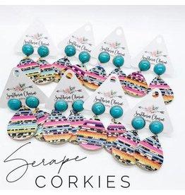 E/R- Blue TQ & Serape Dangle Corkies