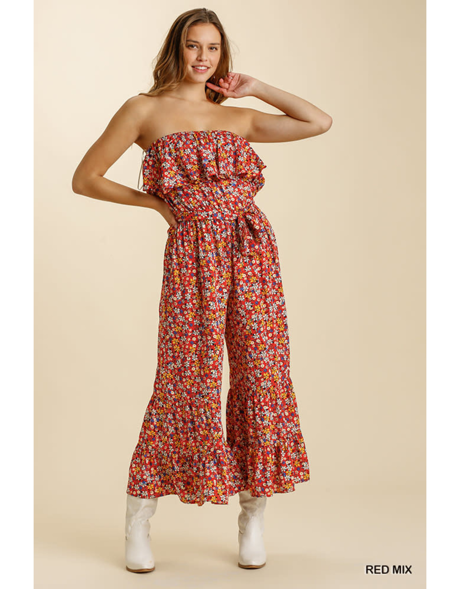 Floral Print Strapless Ruffle Romper