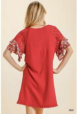 Printed Layered Ruffle Sleeve Dress