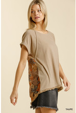 Multicolored Floral Lace Top w/ Frayed Hem