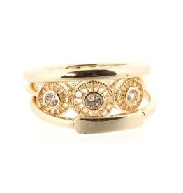 3 circle gold diamonds Ring