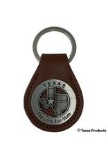 Keychain- Silver & Leather Texas