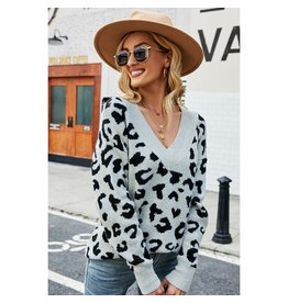 Elsey Sexy Leopard V-Neck Sweater