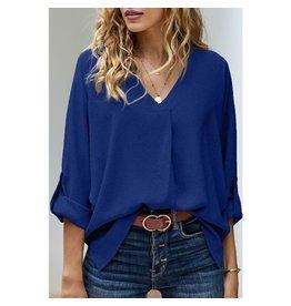 Elsey Royal Blue Stylish V-Neck Long Sleeve Top