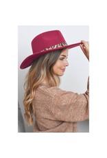 Burgundy Felt Leopard Trim Hat
