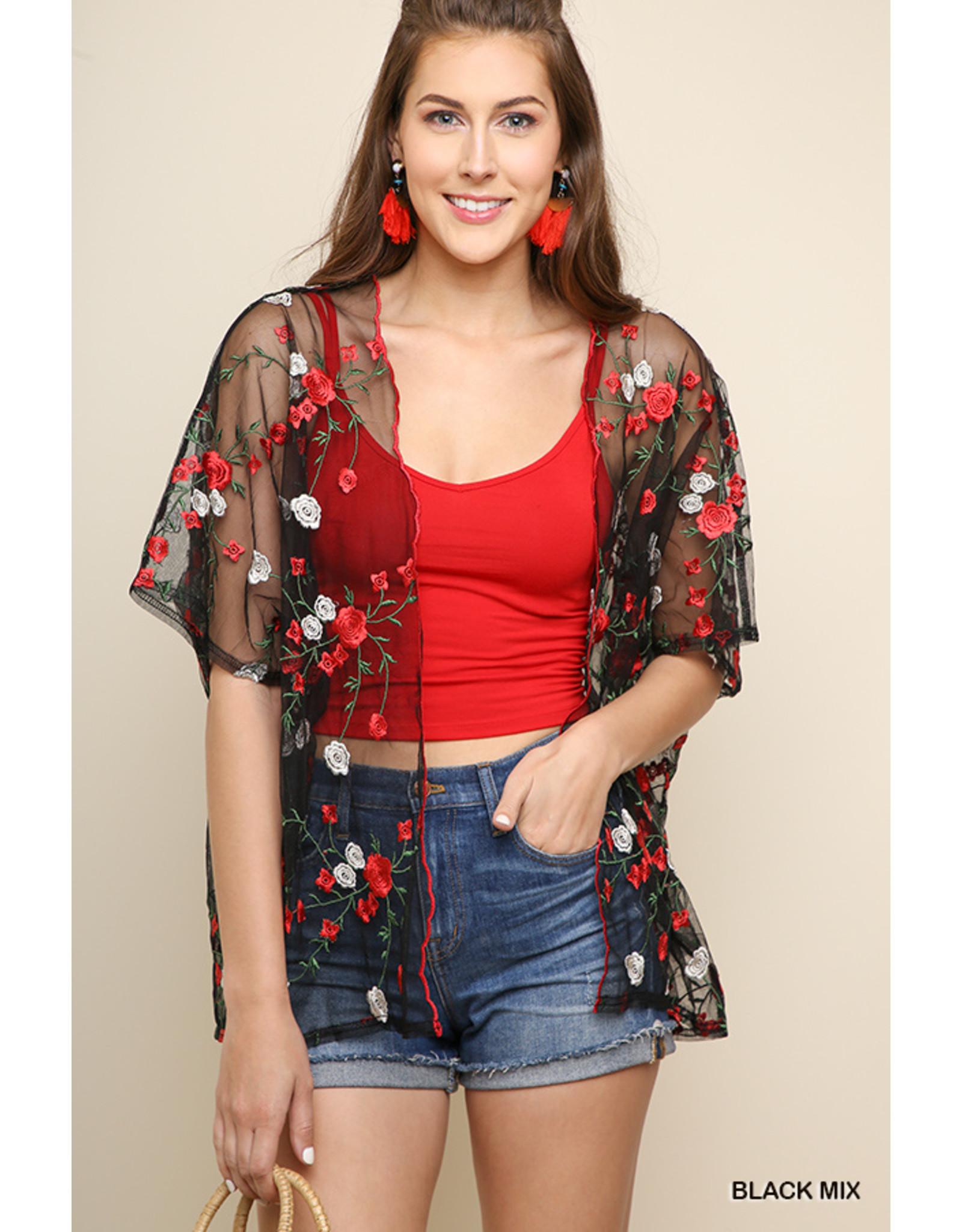 Umgee USA Sheer Floral Rose Embroidered Kimono