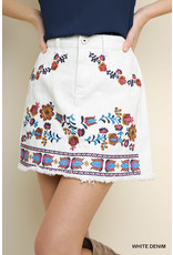 Umgee USA White Demin Embroidered Skirt