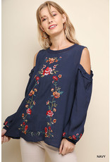 Floral Embroidered Puff C/S Top