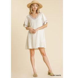 Umgee USA Linen Blend Off White Dress
