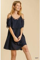 Umgee USA Navy Cold Shoulder Lace Dress