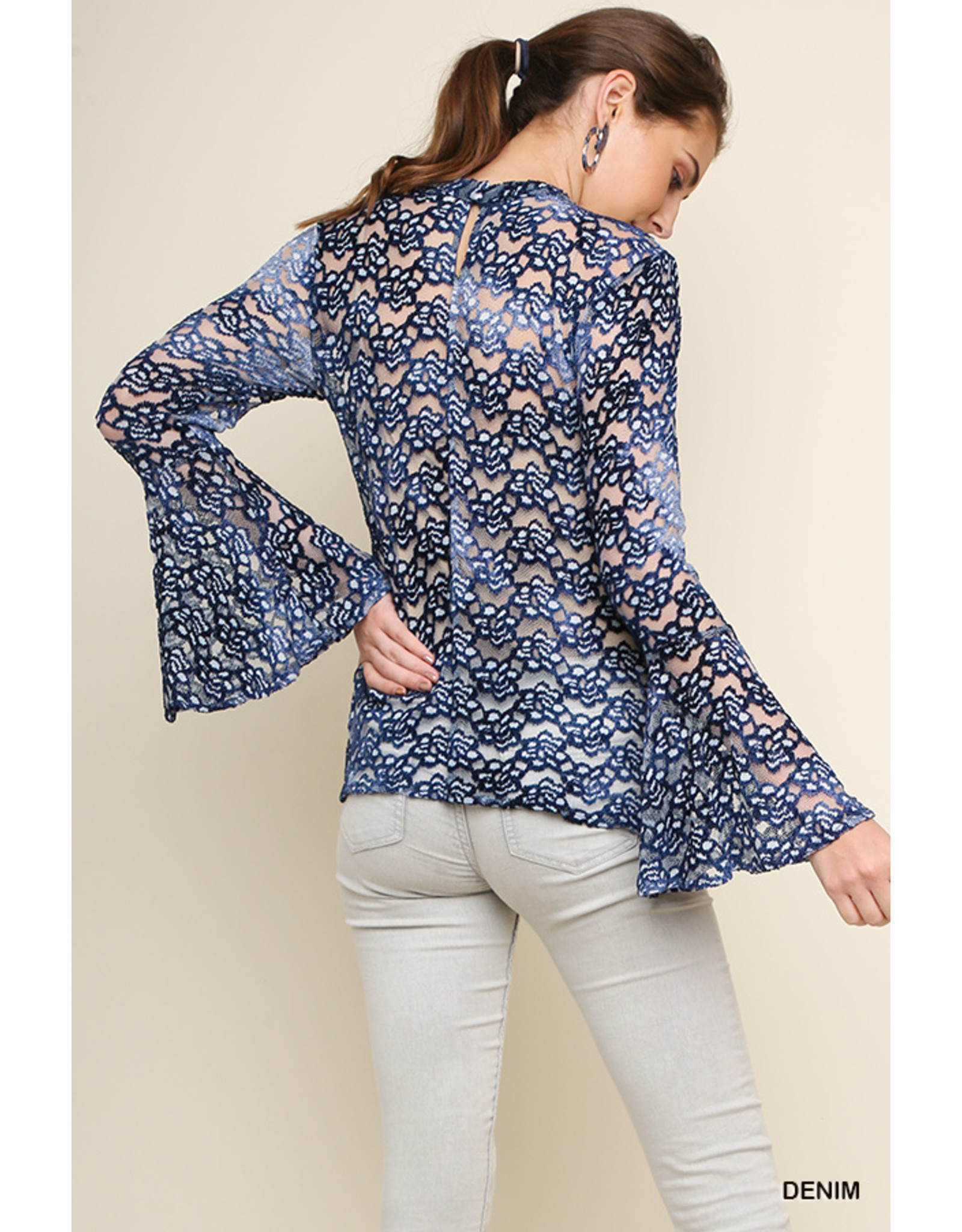 Umgee USA Mesh Mock Floral Embroidered Blouse L/S Top