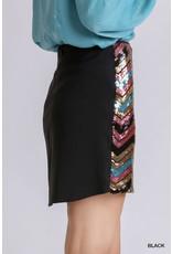 Umgee USA Chevron Sequin Skirt w/Invisible Zipper
