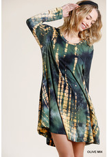 Umgee USA Shibori Tie Dye Long Sleeved Dress w/Pockets