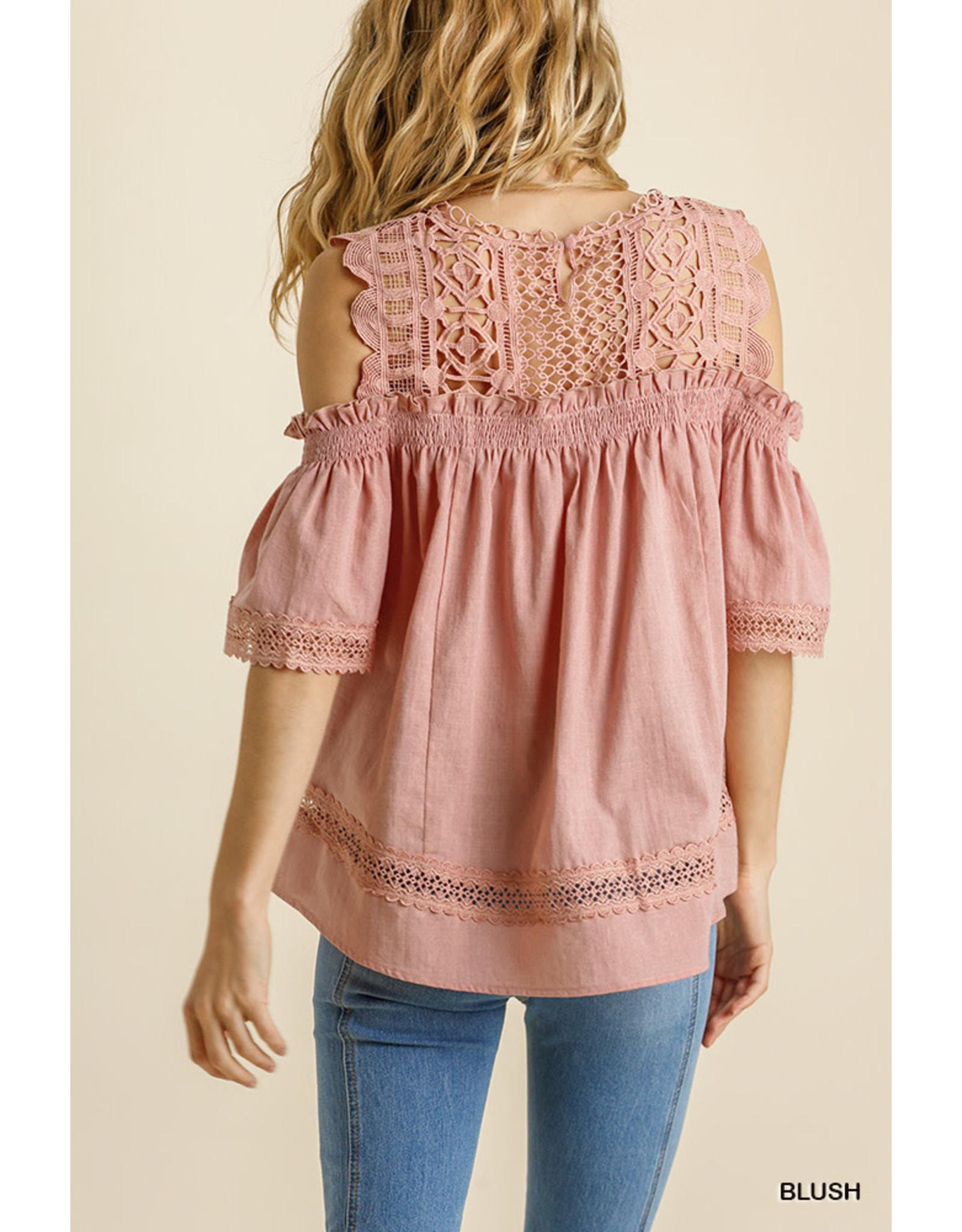 Umgee USA Blush Crochet Lace Cold Shoulder S/S Top