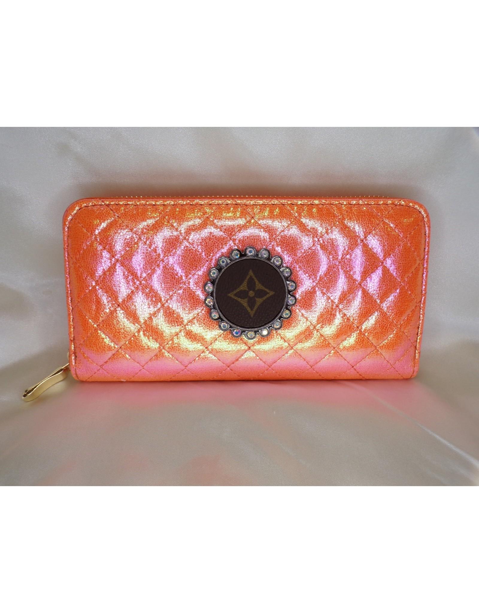 Lost Highway Customs Louis Vuitton Upcycled Metallic Orange Wallet