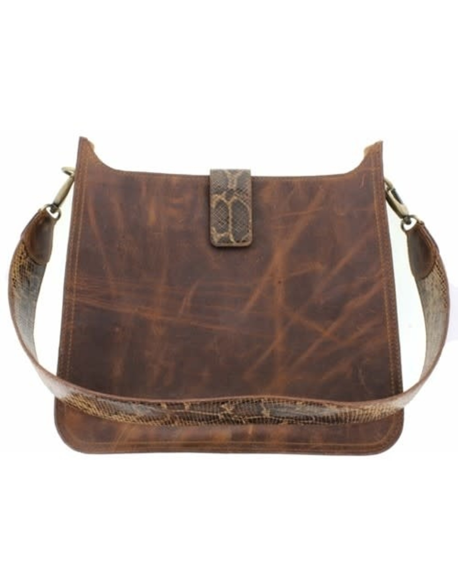 Sadie Snakeskin & Brn Leather Purse