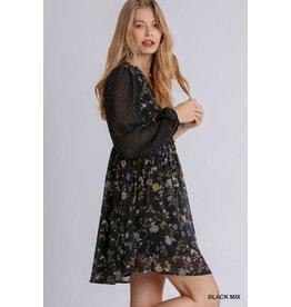 Umgee USA Floral V Neck Dress