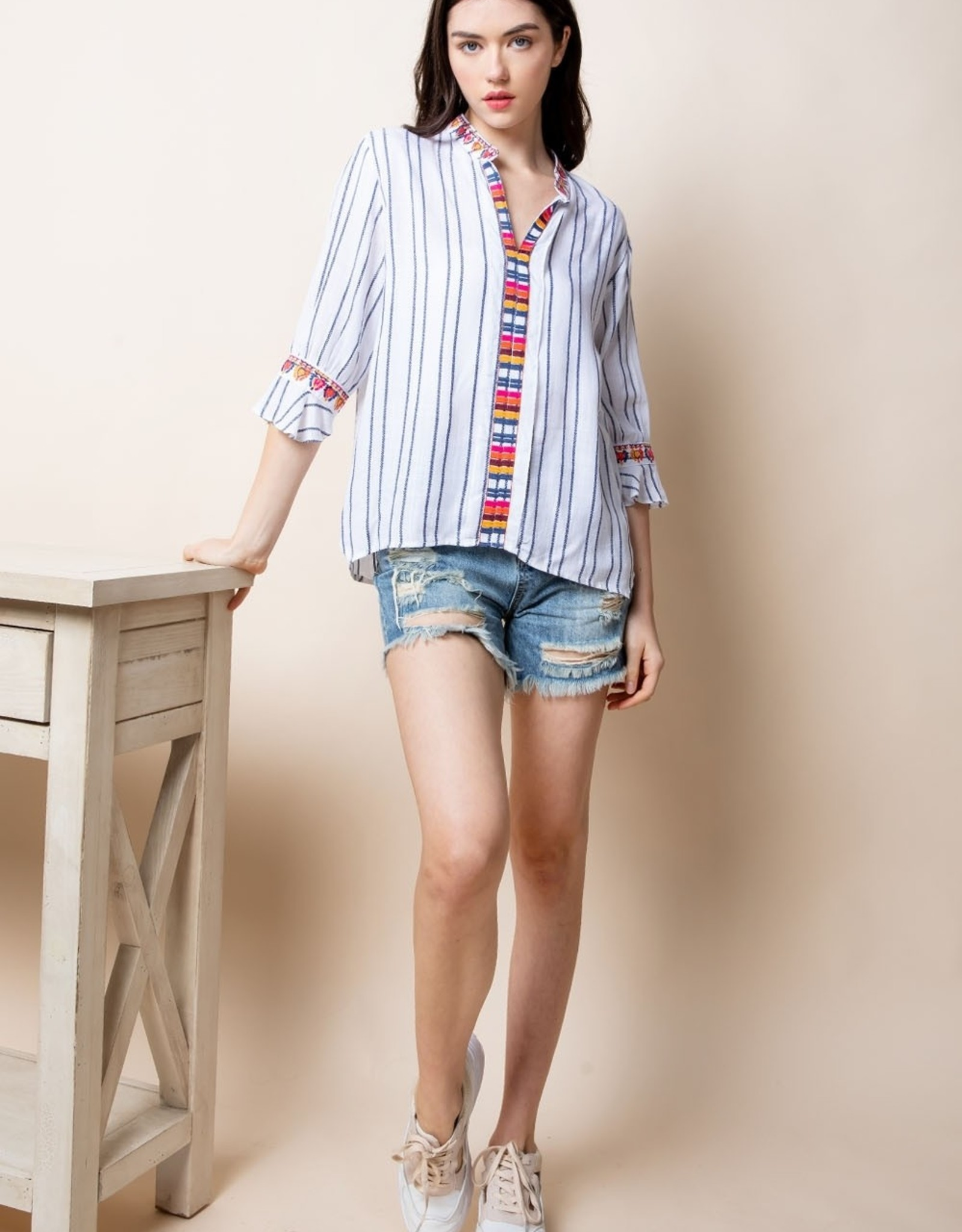 THML Embroidered Boho Top with Ruffle Sleeve