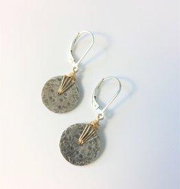 J&I Sterling Silver Hammered Disc Earrings