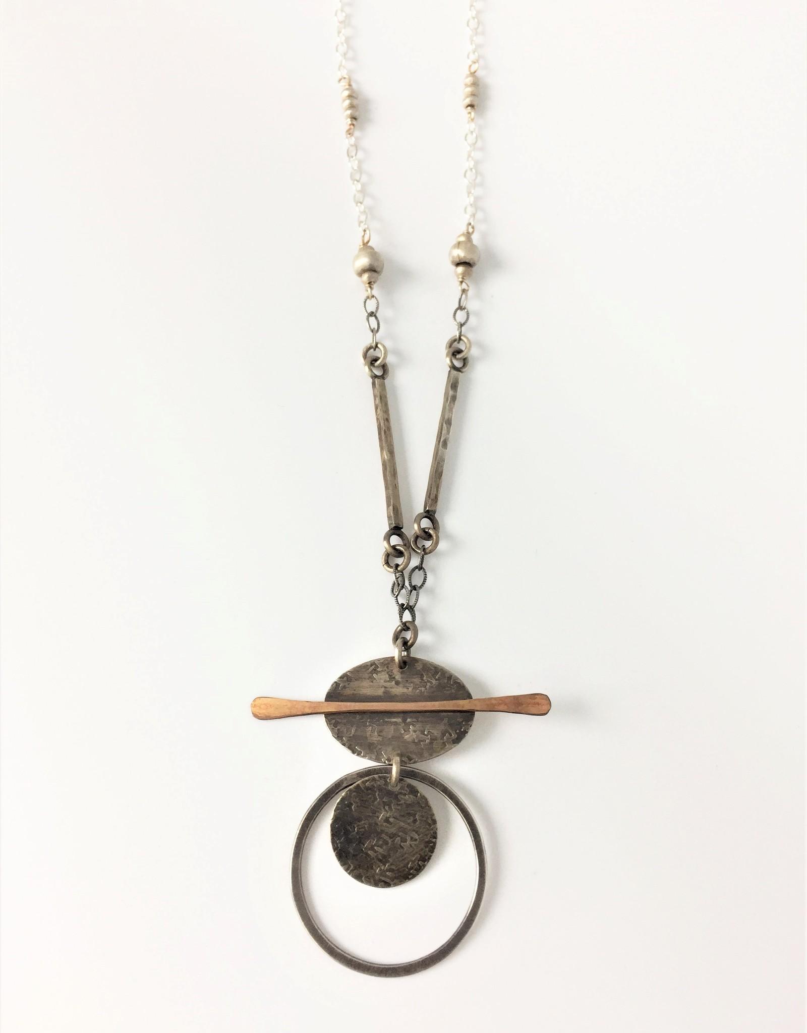 J&I Circle/Oval/Bar Mixed Metal Necklace