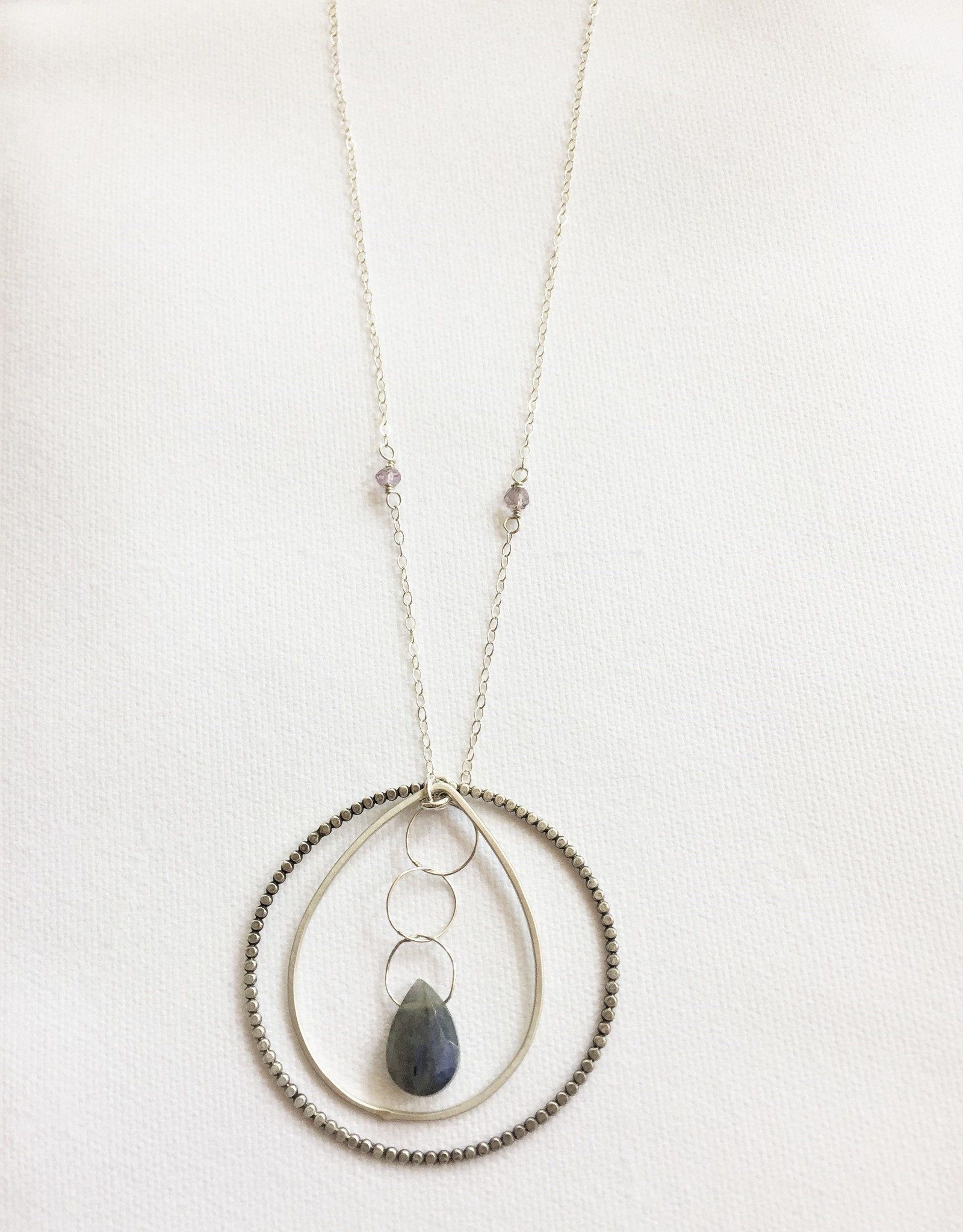 Laura J Designs Sterling Silver Necklace with Laboradite Teardrop