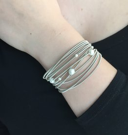 Sea Lily Piano Wire Bracelet with Pearls