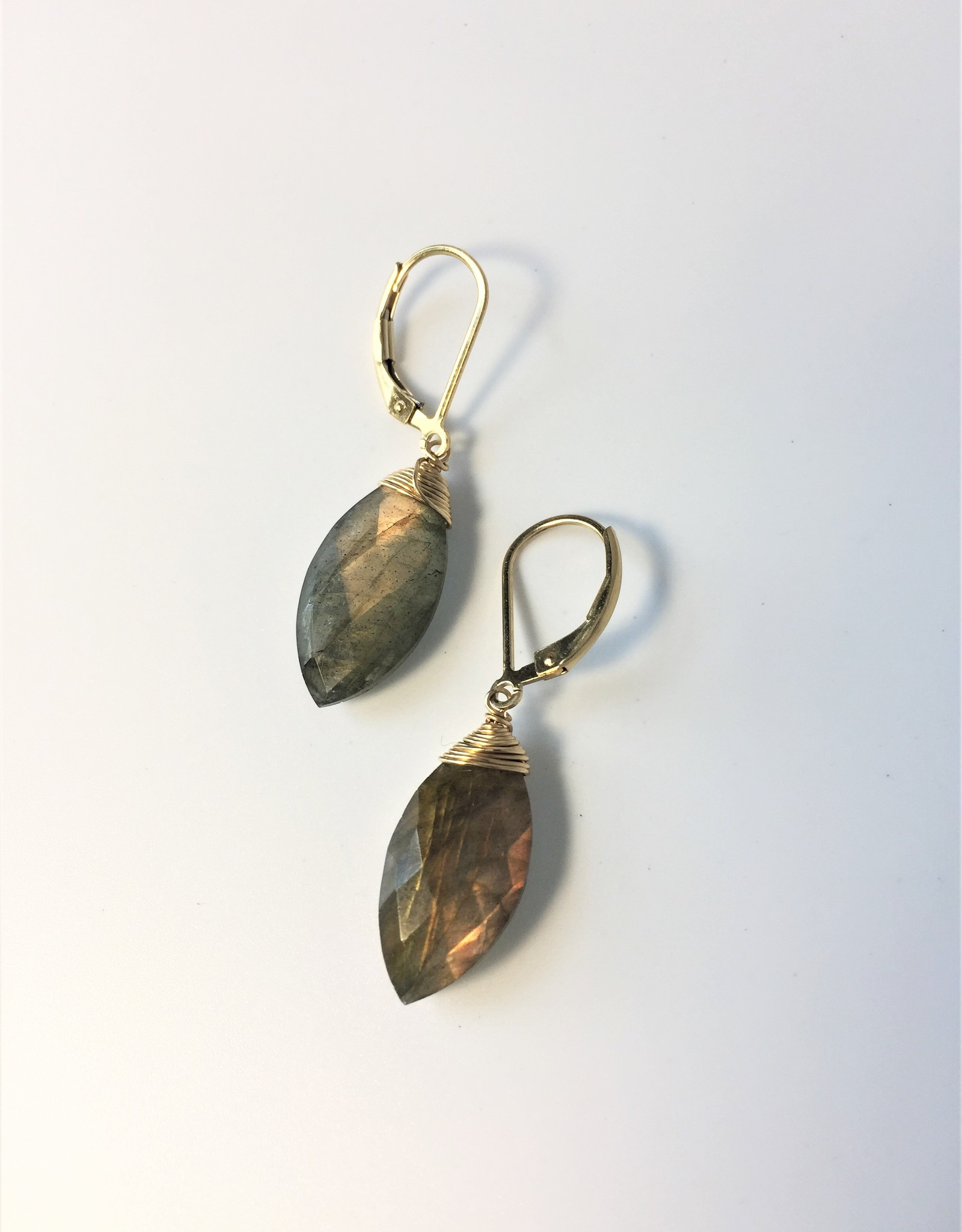 J&I 14kt Gold Wrapped Labradorite Earrings