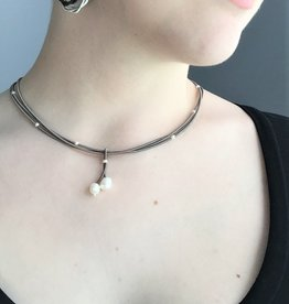 Sea Lilly 3 Strand Piano Wire Necklace with  Pearl