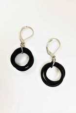 Sea Lilly Black Piano Wire Loop Earring