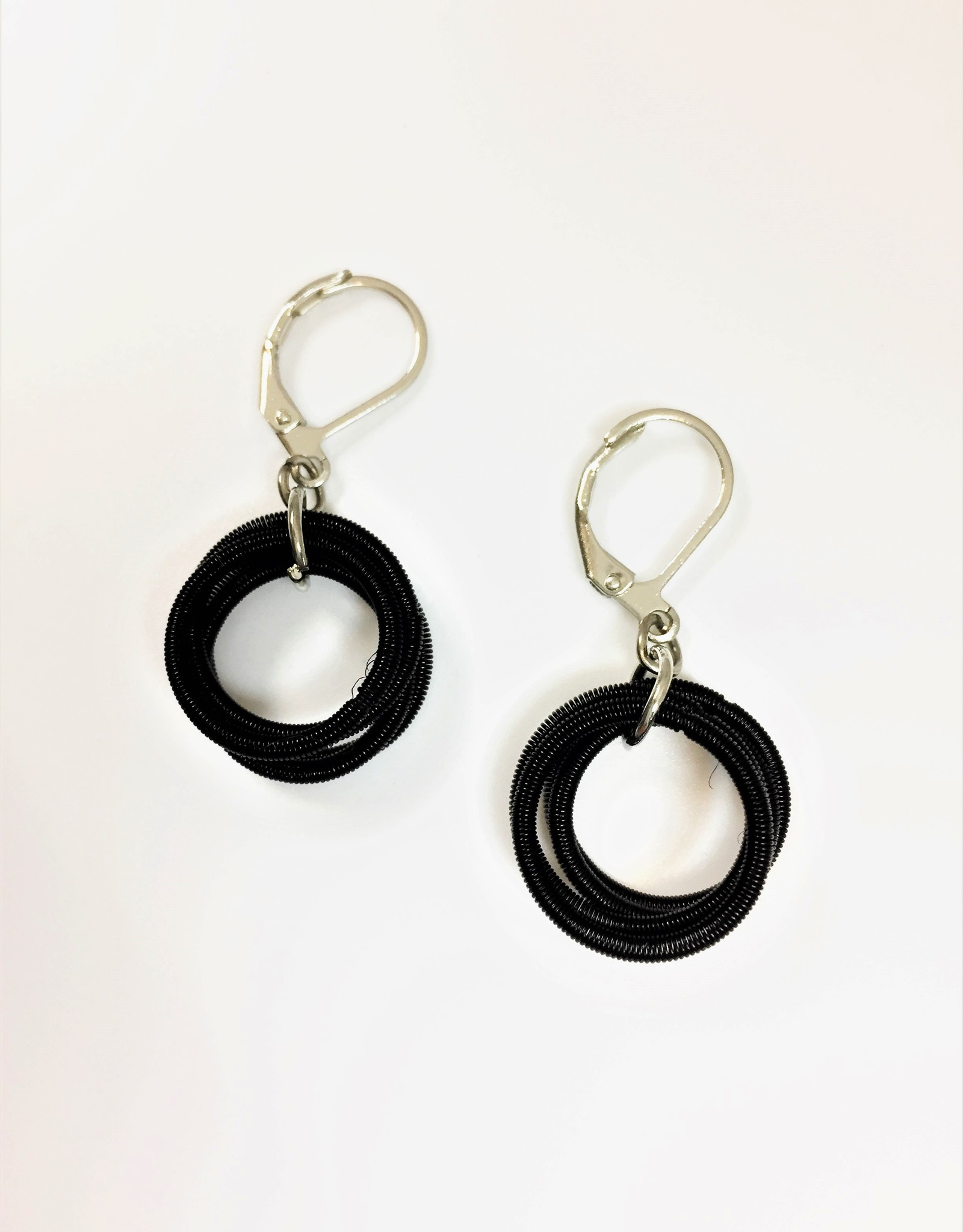 Sea Lily Black Piano Wire Loop Earring