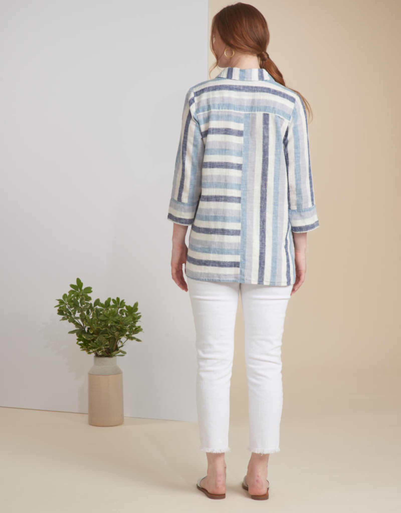 Habitat Waterfall Striped Linen Button Tunic