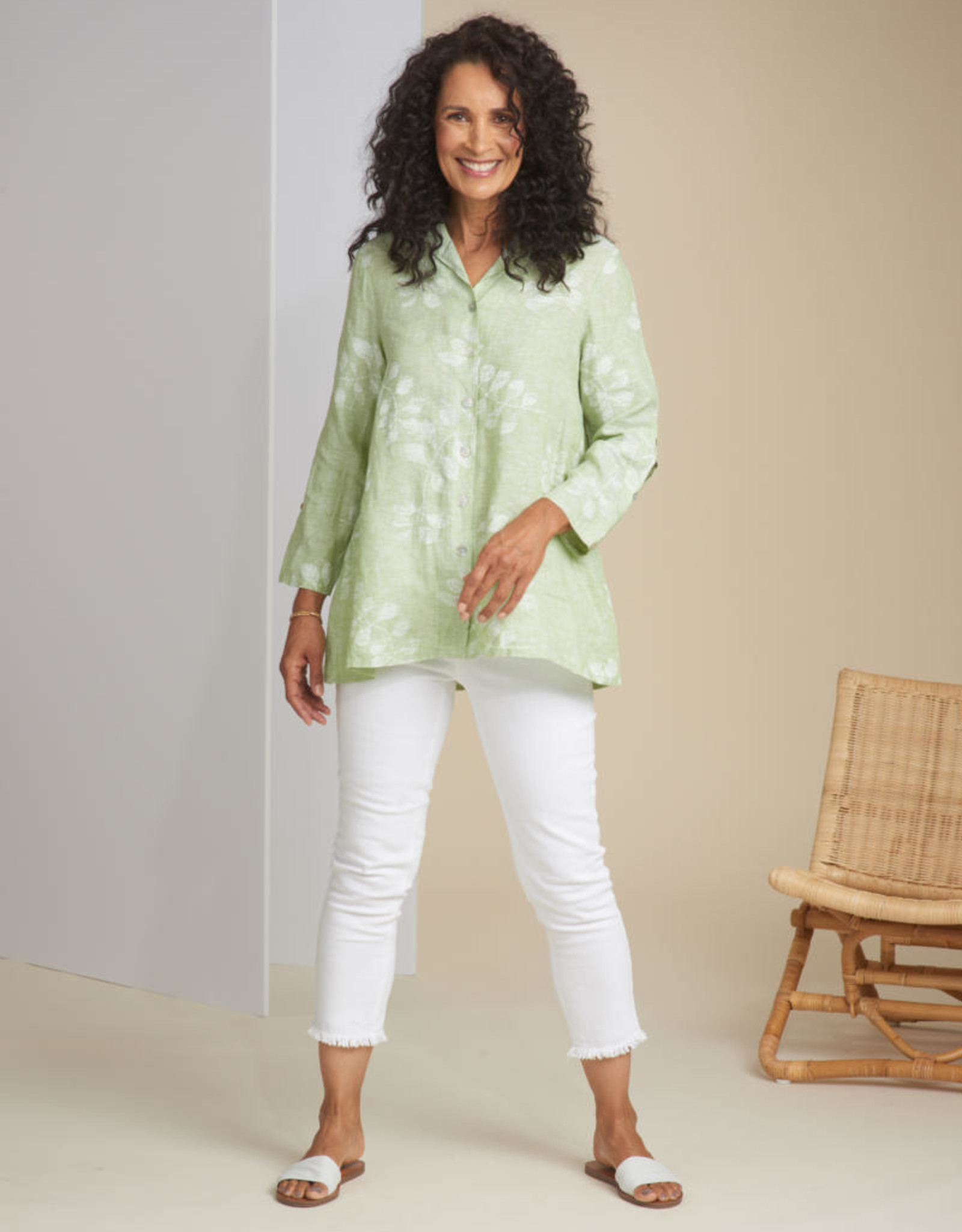 Habitat Line Vine Print Button Sleeve Shirt